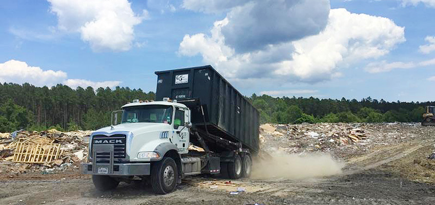 Debris disposal at waste landfill